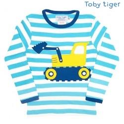 Toby tiger - Bio Baby Langarmshirt mit Bagger-Motiv und Streifen
