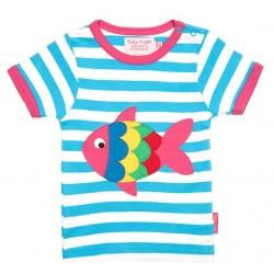 Toby tiger - Bio Kinder T-Shirt mit Fisch-Motiv und Streifen