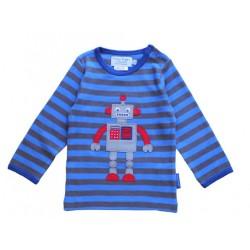 Toby tiger - Bio Baby Langarmshirt mit Roboter-Motiv und Streifen