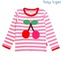 Toby tiger - Bio Baby Langarmshirt mit Kirschen-Motiv und Streifen