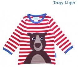 Toby tiger - Bio Baby Langarmshirt mit Bären-Motiv und Streifen