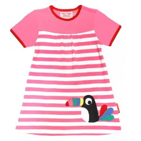 Toby tiger - Bio Kinder Kleid mit Toucan-Motiv und Streifen