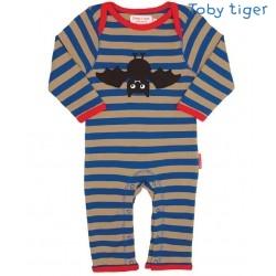 Toby tiger - Bio Baby Strampler mit Fledermaus-Motiv und Streifen