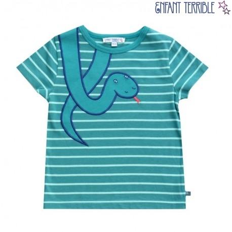 Enfant Terrible - Bio Kinder T-Shirt mit Schlangen-Motiv und Streifen