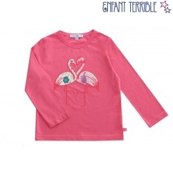 Enfant Terrible - Bio Kinder Langarmshirt mit Flamingo-Motiv