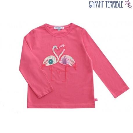 Enfant Terrible - Bio Kinder Langarmshirt mit Flamingo-Motiv