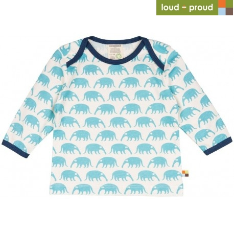 60a3a2941c97 loud + proud - Bio Baby Langarmshirt mit Ameisenbär-Druck ...