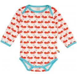 loud + proud - Bio Baby Body langarm mit Ameisen-Druck