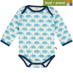 loud + proud - Bio Baby Body langarm mit Ameisenbär-Druck