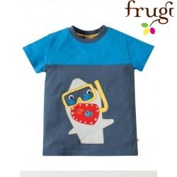 "frugi - Bio Kinder T-Shirt ""Crantock"" mit Hai-Motiv"