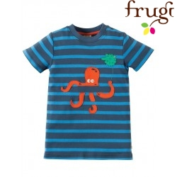 """frugi - Bio Kinder T-Shirt """"Ollie """" mit Kraken-Motiv und Streifen"""
