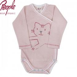People Wear Organic - Bio Baby Wickelbody langarm mit Katzen-Motiv