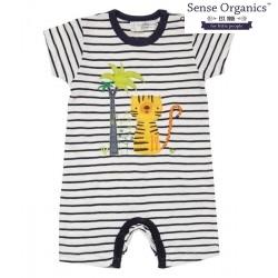 """Sense Organics - Bio Baby Spieler """"Yoeky"""" mit Tiger-Motiv Streifen"""