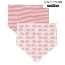 """Sense Organics - Bio Baby Wende Tuch """"Bib"""" mit Elefanten-Motiv, und Streifen rosa"""
