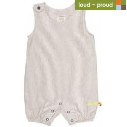 loud + proud - Bio Baby Spieler mit Streifen, grau