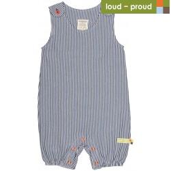 loud + proud - Bio Baby Spieler mit Streifen, dunkelblau