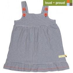 loud + proud - Bio Baby Jersey Kleid mit Streifen, dunkelblau