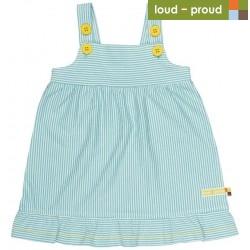 loud + proud - Bio Baby Jersey Kleid mit Streifen, hellblau
