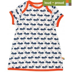 loud + proud - Bio Baby Jersey Kleid mit Ameisen-Druck, blau