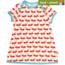 loud + proud - Bio Baby Jersey Kleid mit Ameisen-Druck, rot
