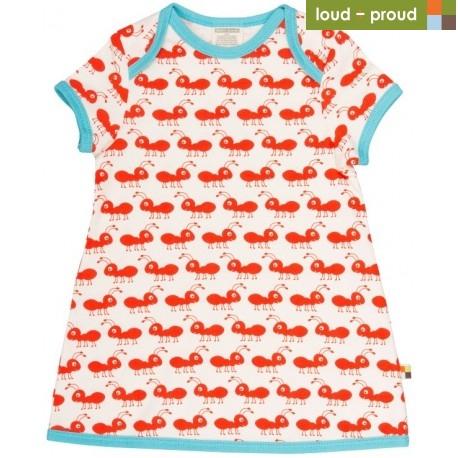 1ab79daa49b2 loud + proud - Bio Baby Jersey Kleid mit Ameisen-Druck, rot ...