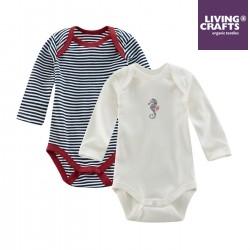 LIVING CRAFTS - Bio Baby Bodys langarm Doppelpack mit Streifen und Seepferdchen-Motiv