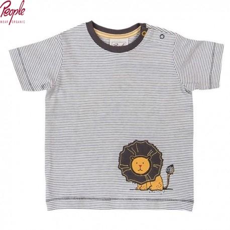 People Wear Organic - Bio Baby T-Shirt mit Streifen und Löwen-Motiv