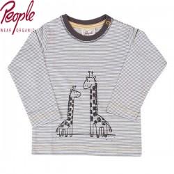 People Wear Organic - Bio Baby Langarmshirt mit Streifen und Giraffen-Motiv
