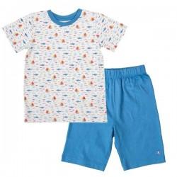 People Wear Organic - Bio Kinder Schlafanzug kurz mit Schiffs-Allover