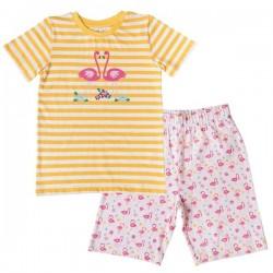 People Wear Organic - Bio Kinder Schlafanzug kurz mit Flamingo-Motiv