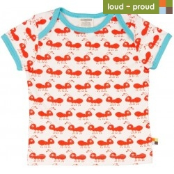 loud + proud - Bio Kinder T-Shirt mit Ameisen-Druck, rot