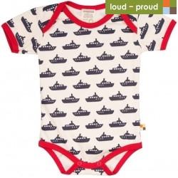 loud + proud - Bio Baby Body kurzarm mit Schiff-Druck