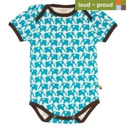 loud + proud - Bio Baby Body kurzarm mit Elefanten-Druck, hellblau