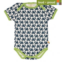 loud + proud - Bio Baby Body kurzarm mit Elefanten-Druck, marine