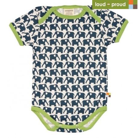 3ba715722de8 loud + proud - Bio Baby Body kurzarm mit Elefanten-Druck, marine ...