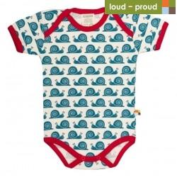 loud + proud - Bio Baby Body kurzarm mit Schnecken-Druck, blau