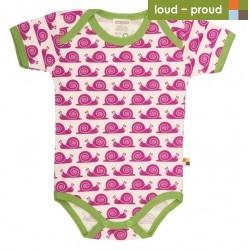 loud + proud - Bio Baby Body kurzarm mit Schnecken-Druck, fuchsia