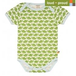 loud + proud - Bio Baby Body kurzarm mit Wal-Druck