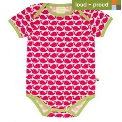 loud + proud - Bio Baby Body kurzarm mit Wal-Druck, rosenrot