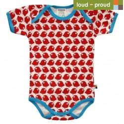 loud + proud - Bio Baby Body kurzarm mit Vogel-Druck, rot