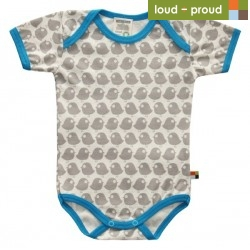 loud + proud - Bio Baby Body kurzarm mit Vogel-Druck, grau