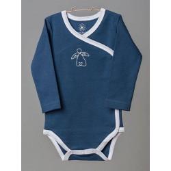 ORGANIC by Feldman - Bio Baby Wickelbody langarm mit Schutzengel-Motiv, blau