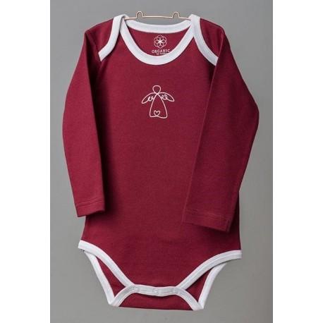 ORGANIC by Feldman - Bio Baby Body langarm mit Schutzengel-Motiv, rot
