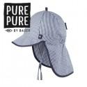 pure pure by BAUER - Bio Kinder Mütze mit Nackenschutz und Schirm, UPF 30-35, marine