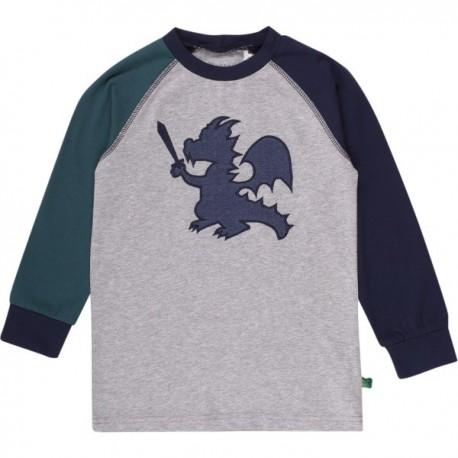 Fred`s World by Green Cotton - Bio Kinder Langarmshirt mit Drachen-Applikation