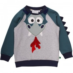 Fred`s World by Green Cotton - Bio Kinder Sweatshirt mit Drachen-Applikation