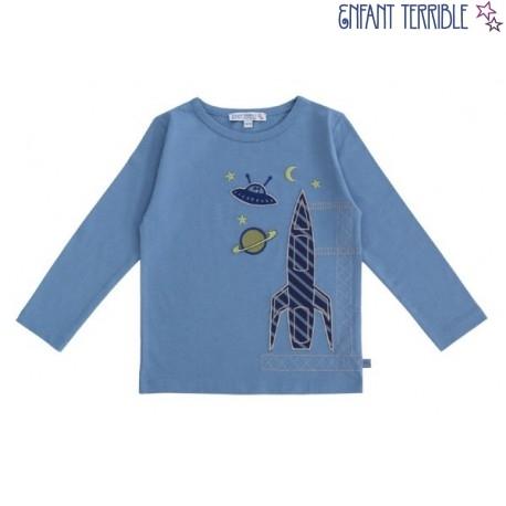 Enfant Terrible - Bio Kinder Langarmshirt mit Raketen-Motiv