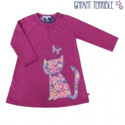 Enfant Terrible - Bio Kinder Sweatkleid mit Katzen-Motiv