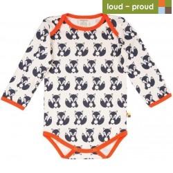 loud + proud - Bio Baby Body langarm mit Fuchs-Druck, blau