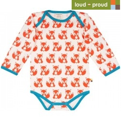 loud + proud - Bio Baby Body langarm mit Fuchs-Druck, orange